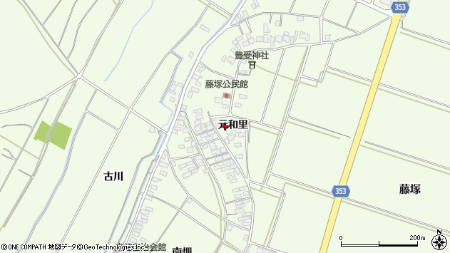 山形県酒田市藤塚元和里周辺の地図