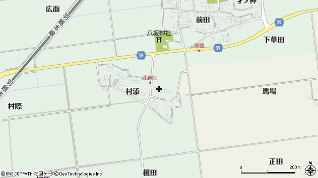 山形県酒田市保岡村添周辺の地図