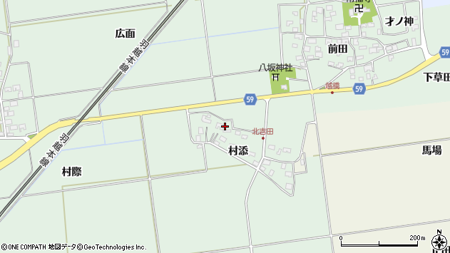 山形県酒田市保岡村添47周辺の地図