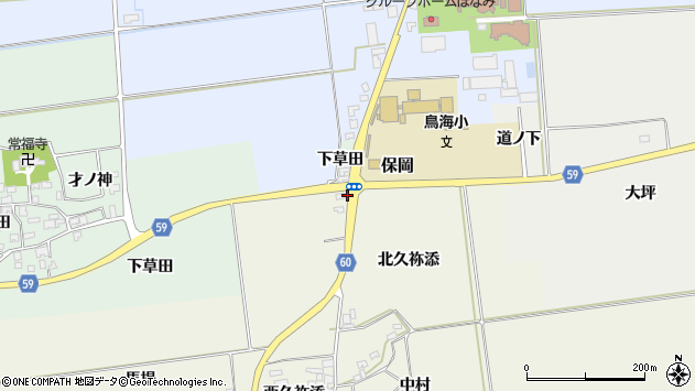 山形県酒田市庭田馬場周辺の地図