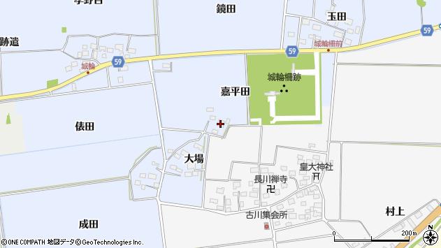 山形県酒田市城輪嘉平田周辺の地図