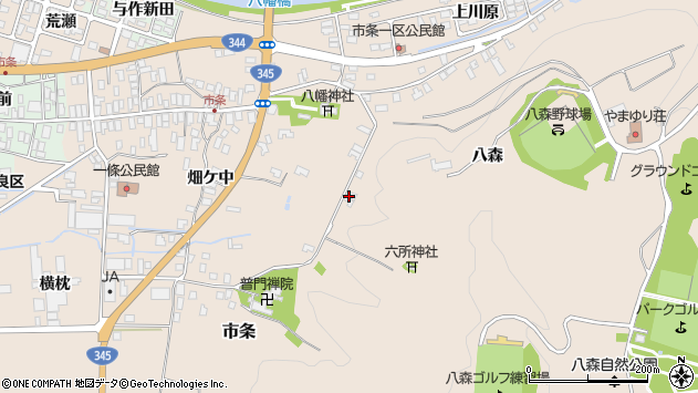 山形県酒田市市条八森814周辺の地図