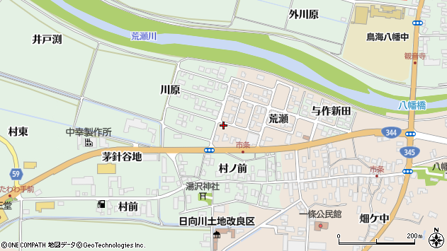 山形県酒田市市条荒瀬168周辺の地図