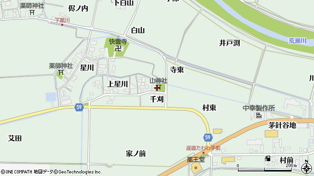 山形県酒田市大豊田上星川周辺の地図