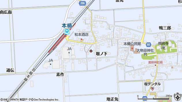 山形県酒田市本楯堰ノ下38周辺の地図