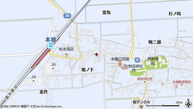 山形県酒田市本楯堰ノ下13周辺の地図