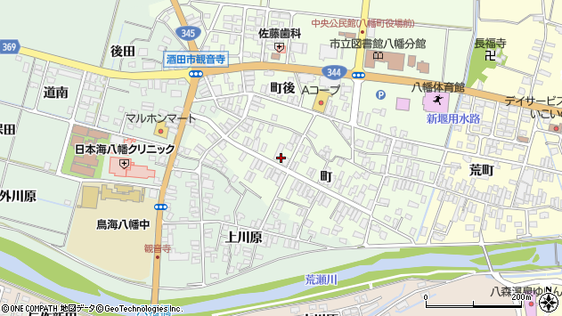 山形県酒田市観音寺町86周辺の地図