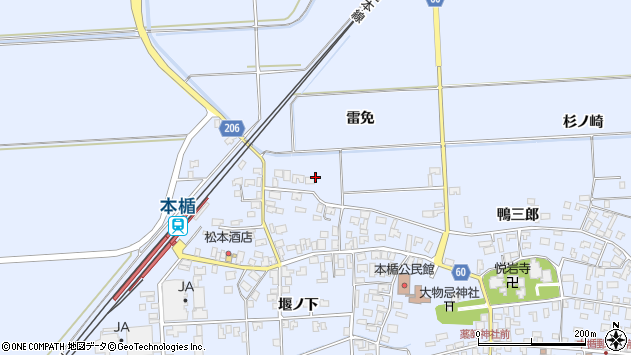 山形県酒田市本楯雷免6周辺の地図