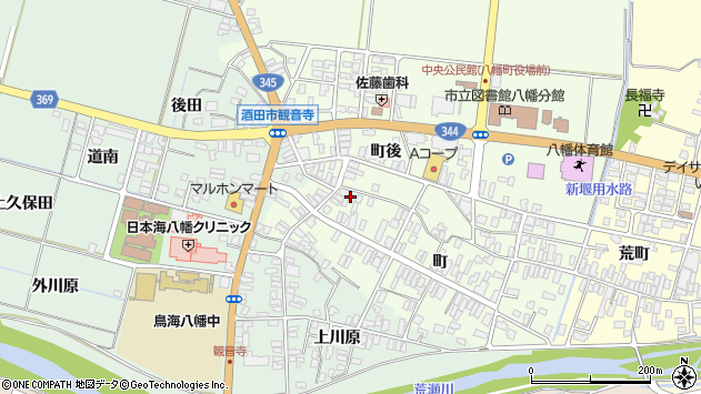 山形県酒田市観音寺町93周辺の地図