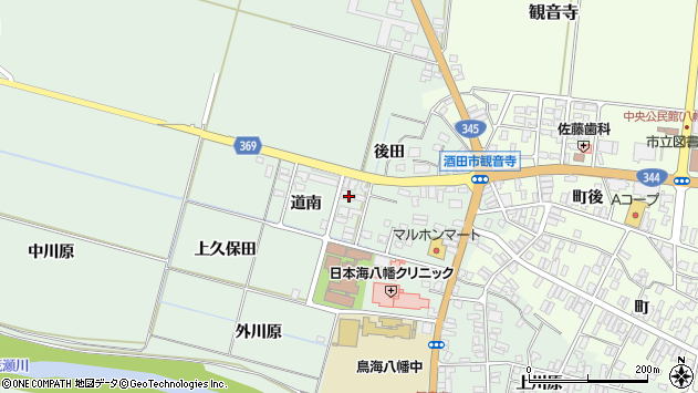 山形県酒田市小泉道南周辺の地図