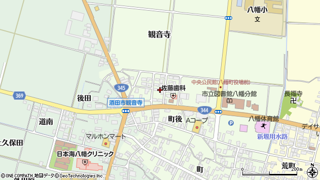 山形県酒田市観音寺町後7周辺の地図