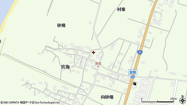 山形県酒田市宮海村東13周辺の地図