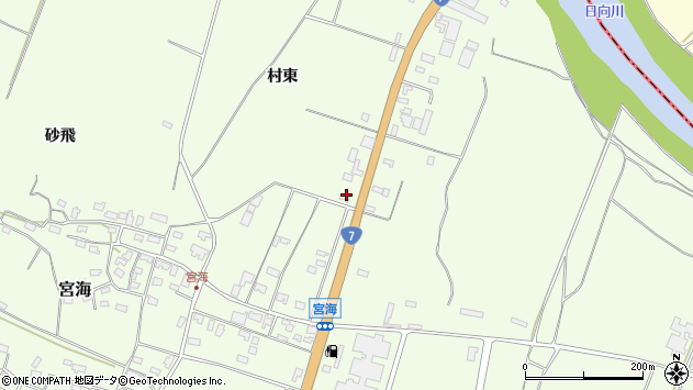 山形県酒田市宮海村東75周辺の地図