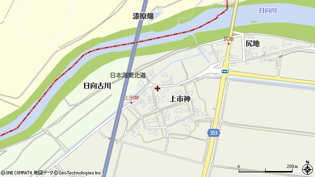 山形県酒田市穂積上市神52周辺の地図