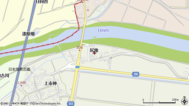 山形県酒田市穂積尻地63周辺の地図