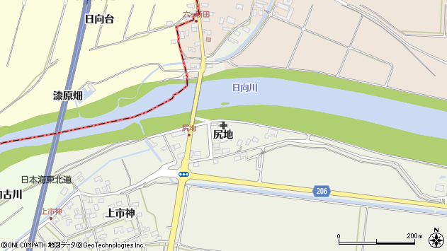 山形県酒田市穂積尻地58周辺の地図