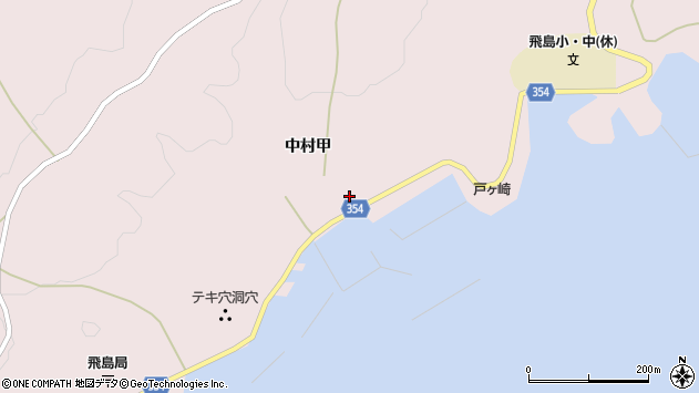 山形県酒田市飛島中村甲63周辺の地図