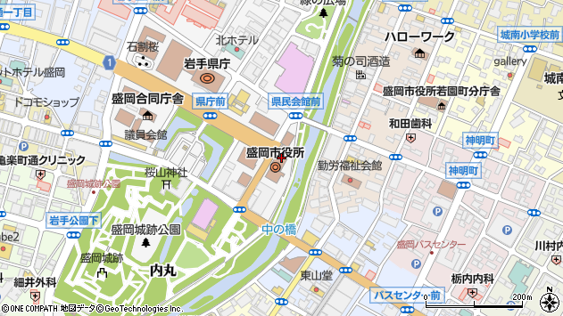 岩手県盛岡市周辺の地図