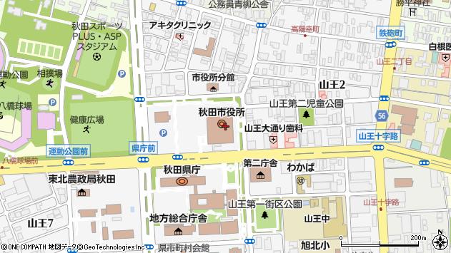 秋田県秋田市周辺の地図