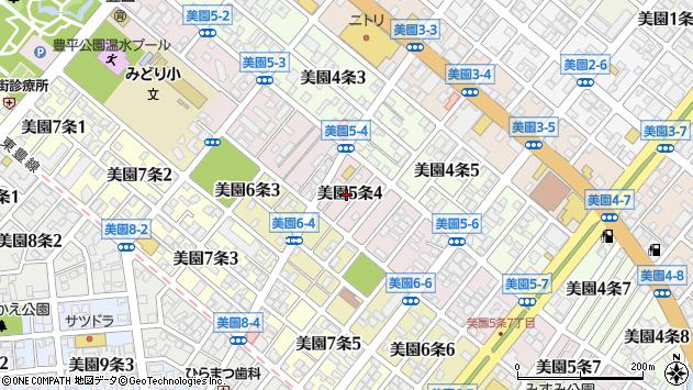 北海道札幌市豊平区美園5条周辺の地図