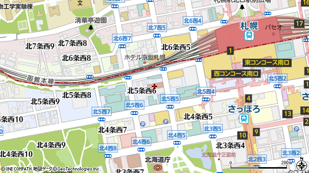 北海道札幌市中央区北5条西6丁目周辺の地図