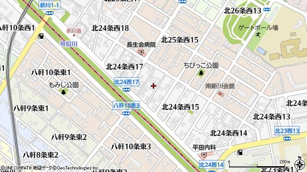 北海道札幌市北区北24条西周辺の地図