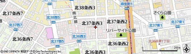 北海道札幌市北区北37条西3丁目周辺の地図