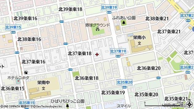 北海道札幌市東区北37条東19丁目1-5周辺の地図