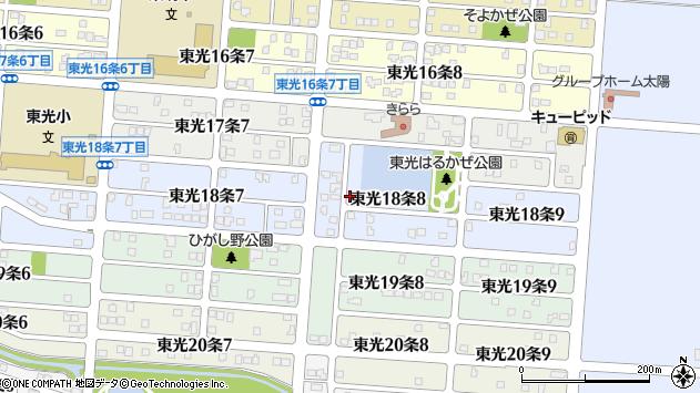 北海道旭川市東光18条8丁目周辺の地図