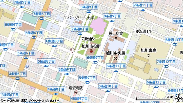 北海道旭川市周辺の地図