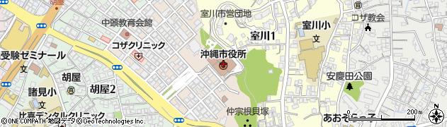 沖縄県沖縄市周辺の地図
