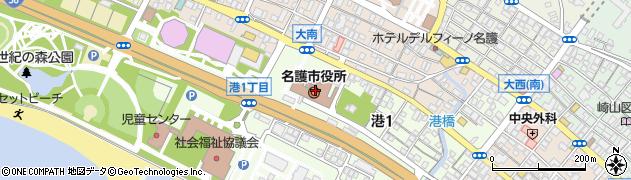沖縄県名護市周辺の地図