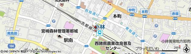 宮崎県小林市周辺の地図