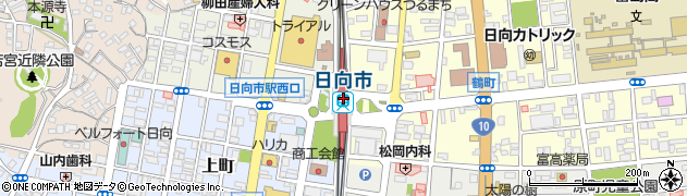 宮崎県日向市周辺の地図