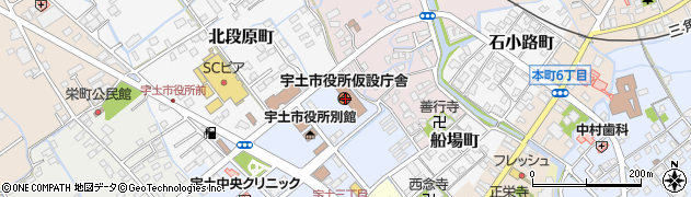 熊本県宇土市周辺の地図