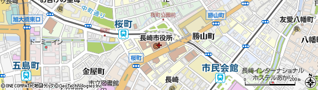 長崎県長崎市周辺の地図