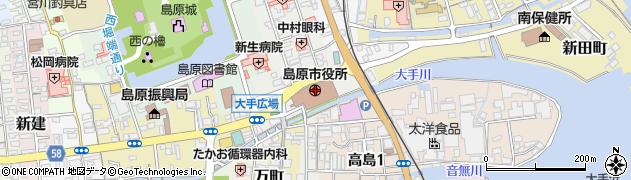 長崎県島原市周辺の地図