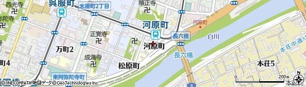 熊本県熊本市中央区河原町周辺の地図