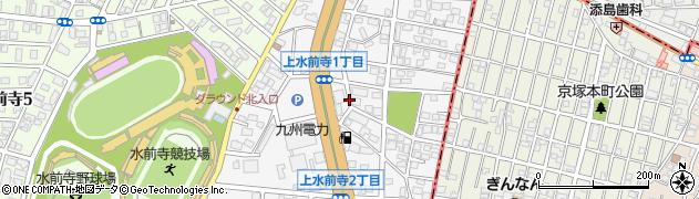 熊本県熊本市中央区上水前寺周辺の地図
