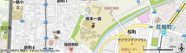 熊本県熊本市中央区古城町周辺の地図