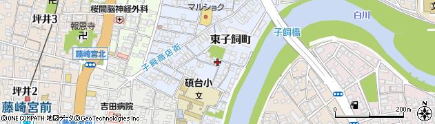 熊本県熊本市中央区東子飼町周辺の地図