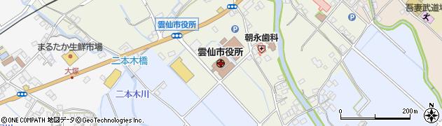 長崎県雲仙市周辺の地図