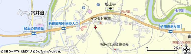 大分県竹田市君ケ園大津留上周辺の地図