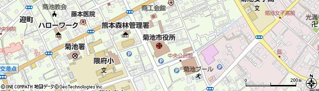 熊本県菊池市周辺の地図