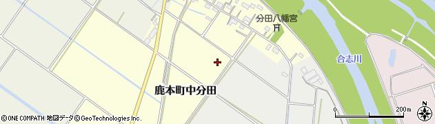 熊本県山鹿市鹿本町中分田周辺の地図