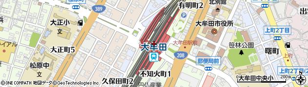 福岡県大牟田市周辺の地図