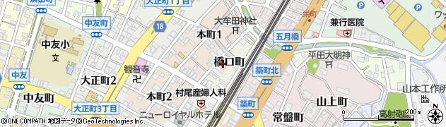 福岡県大牟田市橋口町周辺の地図