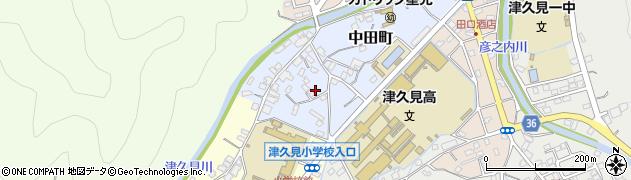 大分県津久見市中田町周辺の地図