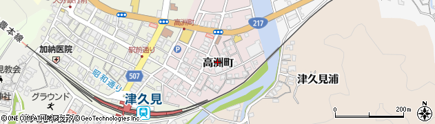 大分県津久見市高洲町周辺の地図