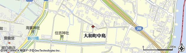 福岡県柳川市大和町中島周辺の地図